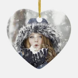 Winter Keramik Herz-Ornament