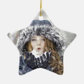 Winter Keramik Stern-Ornament