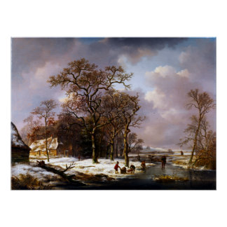 Winter-Landschaft Andreas Schelfhout Poster