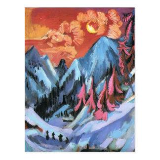 Winter-Landschaft Ernst Kirchner- im Mondschein Postkarte