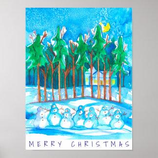 Winter-LandschaftsSchneemann-frohe Weihnachten Poster