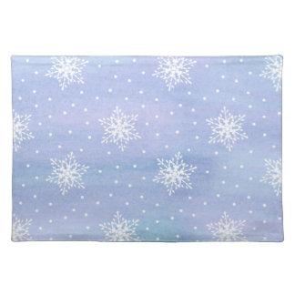 Winter-lila blauer Himmel-weiße Tischset