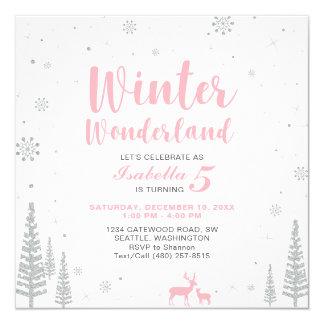Winter-Märchenland-Kindergeburtstag-Einladung - Karte