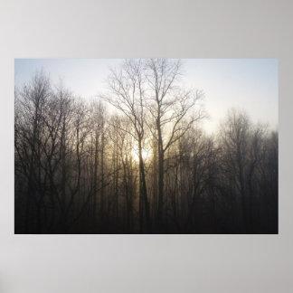 Winter-Nebel-Morgen-Sonnenaufgang-Natur-Fotografie Poster