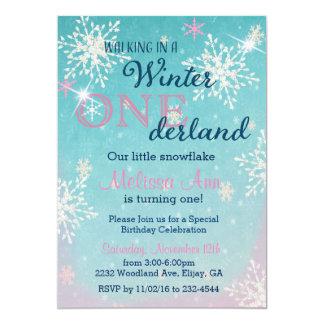 Winter Onederland erster Geburtstag Invitaiton Karte