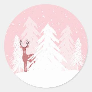 Winter Onederland erster Geburtstags-rosa Runder Aufkleber