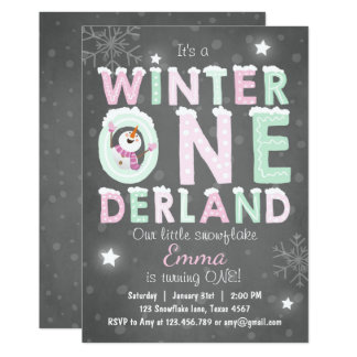 Winter Onederland Geburtstags-Party laden Karte