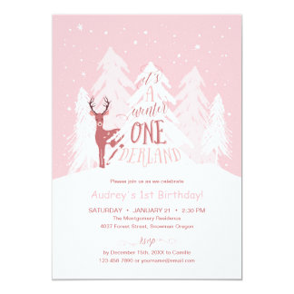 Winter Onederland laden 1. Geburtstags-Party Rosa Karte