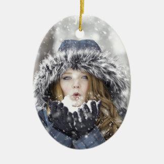 Winter Ovales Keramik Ornament