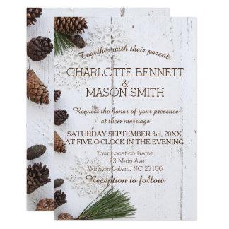 Winter Pinecone und Schneeflocke-Hochzeits-Karte Karte