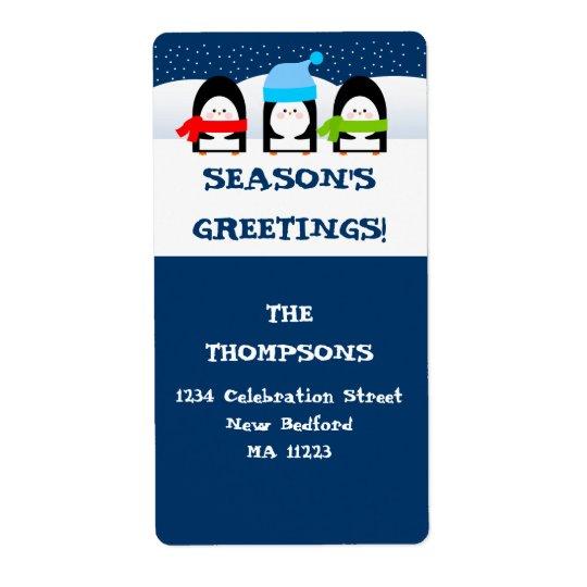 Winter-Pinguin-Adressen-Etikett Großer Adressaufkleber