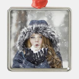 Winter Quadratisches Silberfarbenes Ornament