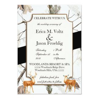 Winter-Rotwild-Tarnungs-Hochzeits-Einladung 2 Karte
