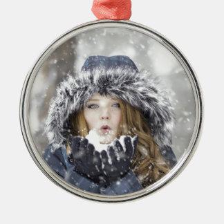 Winter Rundes Silberfarbenes Ornament