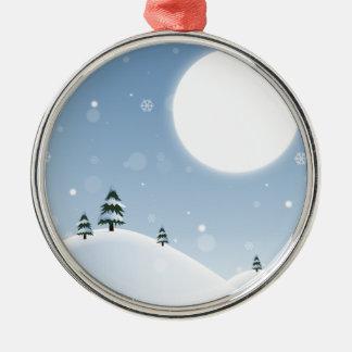 Winter-Schnee-Szene Rundes Silberfarbenes Ornament