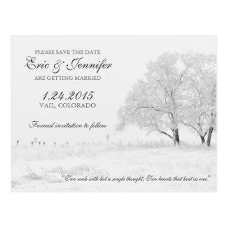 Winter-Schneefälle klassisches Wedding Save the Postkarte