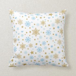 Winter-Schneeflocke-Blau und Kissen