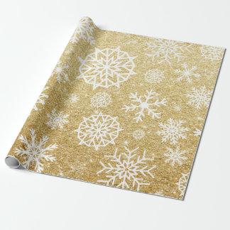 Winter-Schneeflocke-GoldGlitter-Weihnachten Geschenkpapier