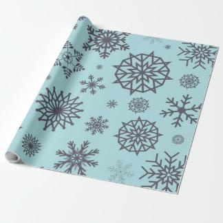 Winter-Schneeflocke-graues u. blaues Einpackpapier