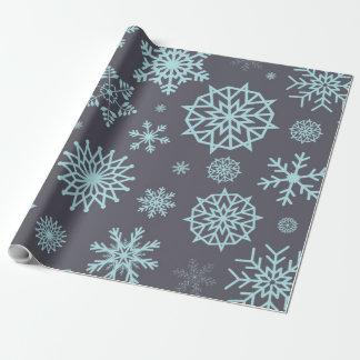 Winter-Schneeflocke-graues u. blaues Geschenkpapier