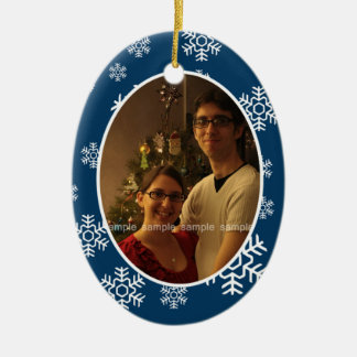 Winter-Schneeflocke-ovale Foto-Verzierung Keramik Ornament