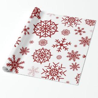 Winter-Schneeflocke-rotes weißes Weihnachten Einpackpapier
