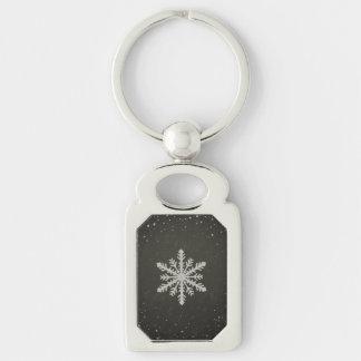 Winter-Schneeflocke-weißes Kreide-Zeichnen Silberfarbener Rechteckiger Schlüsselanhänger