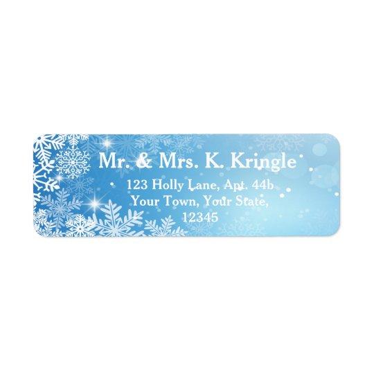Winter-Schneeflocken auf blauen Adressen-Etiketten Rücksendeetiketten