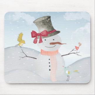 Winter Snowman animal snow animal illustration Mousepad