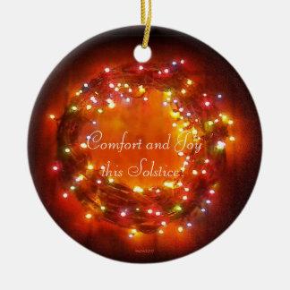 Winter-Sonnenwende-Feen-LichterWreath Keramik Ornament