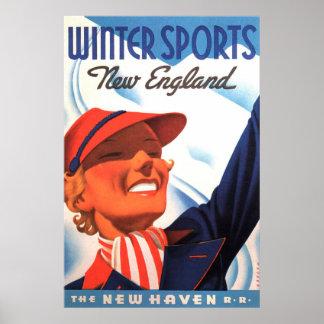 Winter-Sport-Neu-England New-Haven Eisenbahn Poster