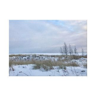 Winter-Strand-Landschaftswand-Kunst Leinwanddruck