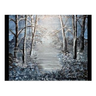Winter-Wald an der Dämmerung Postkarte