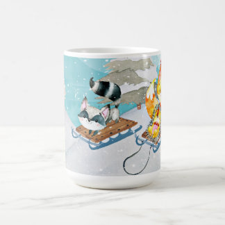 Winter-Waldfreunde - Fox-Igels-Illustration Kaffeetasse