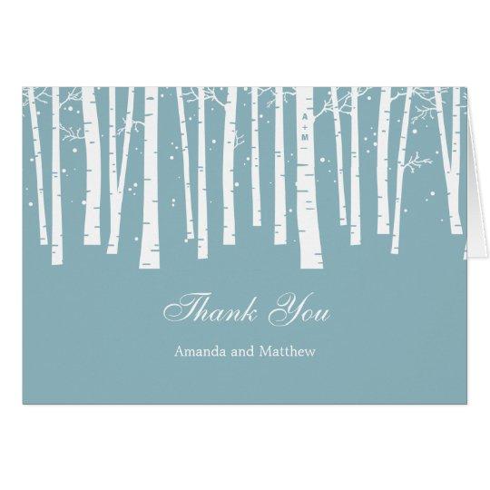Winter-Waldhochzeit danken Ihnen zu kardieren Karte