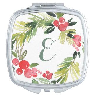 Winter Wedding Blumenmonogramm des Taschenspiegel