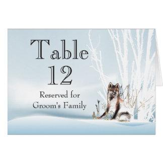 Winter-Wolf-Wedding Tischnummer Karte