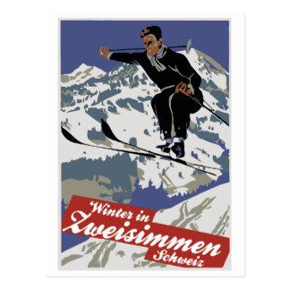 Winter Zweisimmen in der Vintagen Ski-Reiseanzeige Postkarte