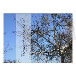 WinterApfelbaum mit Früchten im Schnee Karte