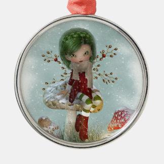 Wintergrün Silbernes Ornament