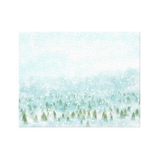 Winterlandschaft mit schneebedecktem Hintergrund Leinwanddruck
