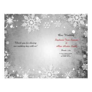 Winterliche graue Hochzeits-Programm-Flyer 21,6 X 27,9 Cm Flyer