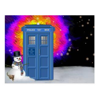 Winterpolizeikasten mit Schneemann Postkarte