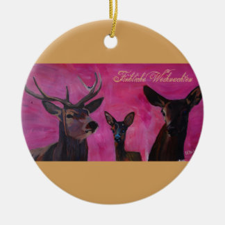 Winters Deer Family Froehliche Weihnachten Keramik Ornament
