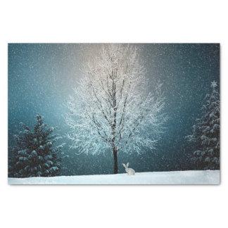 Winterschneelandschaftsschneehäschen Seidenpapier