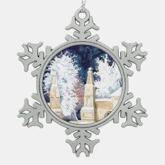 Wintertor nachts (Skizze) Schneeflocken Zinn-Ornament