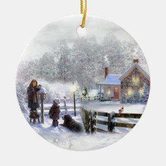 Winterzeit im Land Rundes Keramik Ornament
