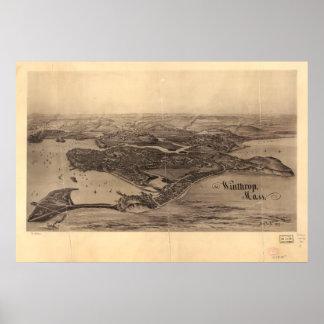 Winthrop Massachusetts 1894 antike panoramische Poster