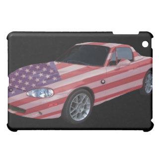 Wir Flagge malten Sportwagen auf einer i-Auflage Hülle Für iPad Mini
