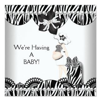 Wir haben EIN BABY! Schwarz-weißer erwartender Quadratische 13,3 Cm Einladungskarte